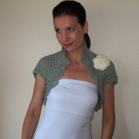 Wedding grey crochet bolero shrug/ Wedding shrug/ Handmade bridesmaids shrug/ Wedding handmade bolero