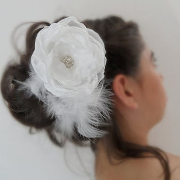 bride hair flower fascinator, wedding, bridal hair flower, headband, hair comb, rose, feathery, organza flowers for the bride