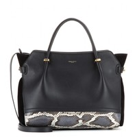 nina ricci - marché medium leather tote with python skin