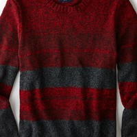 AEO Men's Striped Crew Sweater (Rustic Red)