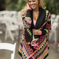 Multi Neon Colored Tribal Sweater