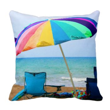 Colorful beach umbrella and chairs in Florida Pillow