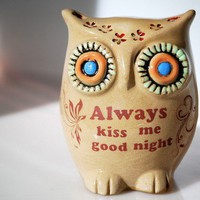 Handmade ceramic owl always kiss me good night by claylicious