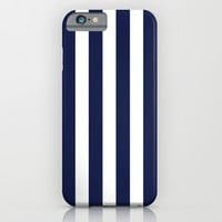 Stripe Vertical Navy Blue iPhone & iPod Case by Beautiful Homes