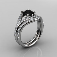 Nature Inspired 10K White Gold 1.0 CT Black and White Diamond Classic Vine Engagement Ring, Wedding Band Set R517S-10KWGDBD