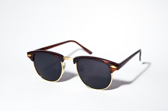 Brown and Gold Clubmaster Sunglasses A2
