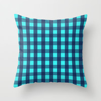 Plaid Flannel Navy Turquoise Throw Pillow by Beautiful Homes