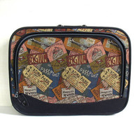 Vintage fabric Tapestry suitcase / Ticket Stubs Rome. Paris