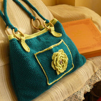 Knit handbag in blue and green