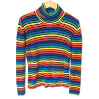 Tommy Hilfiger Ribbed Rainbow Pride Turtleneck Ugly Sweater