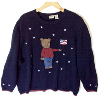 Front Back Patriotic Teddy Bear USA Party Ugly Sweater Plus Size