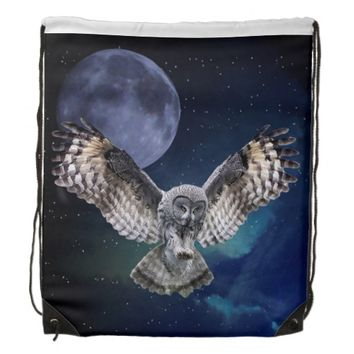 Owl and Blue Moon Drawstring Backpack