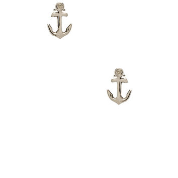Shy by Sydney Evan Anchor Stud Earrings with Diamond Bezel in Metallic Silver