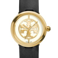 Women's Tory Burch 'Reva' Logo Dial Leather Strap Watch, 28mm