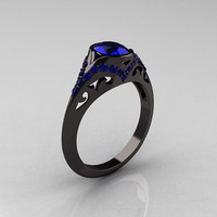 Classic 14K Black Gold Oval Blue Sapphire Wedding Ring, Engagement Ring R194-14KBGNBS