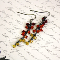 Red Orange Yellow Swarovski Crystal Cluster Earrings