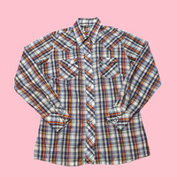 Vintage 90s Western Plaid Pearl Snap Button Up Shirt Womens Size Medium - Default Title