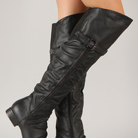 Buckle Slouchy Round Toe Thigh High Boot