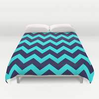 Chevron Navy Turquoise Duvet Cover by Beautiful Homes