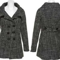 DOLLHOUSE Wool-Blend Tweed Double Breasted Coat [6874-70], Black/Ivory