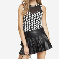 HOUNDSTOOTH MESH YOKE SHELL TOP from EXPRESS