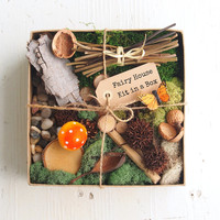 Fairy House Kit, Natural Fairy Garden DIY Gnome Home Nature Bits