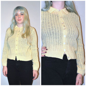 1960s yellow CARDIGAN / vintage 60s PETITE preppy PASTEL yellow button up sweater