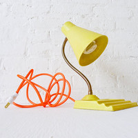 Retro Yellow Vintage Desk Lamp - Citrus Light - Neon Orange Net Color Cord