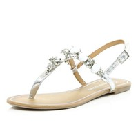 Silver gem stone embellished sandals - flat sandals - shoes / boots - women