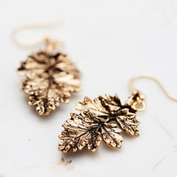 Antiqued Gold Leaf Earrings Autumn Leaf Branch Earrings Rustic Leaf Pendants Nature Leaf Fall Earrings - E101