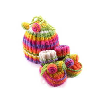 Knitted Baby Hat and Booties - Spring Colors, 6 - 12 month