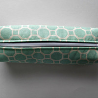 Fabric Boxed Pencil, Craft or Cosmetics Case, in Aqua Honeycomb