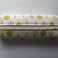 Fabric Boxed Pencil, Craft or Cosmetics Case, in Treas in a Meadow