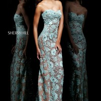 Sherri Hill 11126 Sequin and Lace Prom Dress