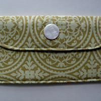 Fabric Wallet Clutch with Pearl White Button, in Secret Garden Gate in Aqua
