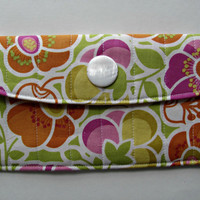 Fabric Wallet Clutch with Pearl White Button, in Summer Flower Box