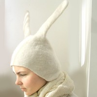 Bunny Hat Hand Felted Wool Size Medium/Large by vaivanat on Etsy