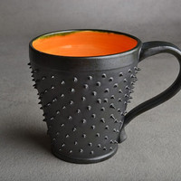 Spiky Mug: Made To Order Black and Orange Dangerously Spiky Mug by Symmetrical Pottery