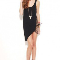 Warped Fringe Back Tank Dress in Black