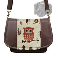 DSLR Camera Bag Slr Camera Messenger Bag  Vegan Brown Leather Cute Owl Zipper Padded Deluxe Model