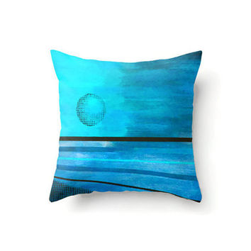 Square Pillow Cover abstract moon design in aqua and blues, indoor or outdoor throw pillow covers in 16 x 16, 18 x 18 or 20 x 20 inch