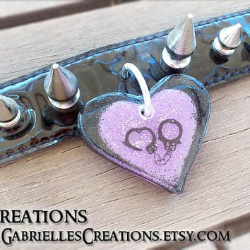 Pet Heart Tag Pendant - Glow in the DARK Black and Purple Personalized BDSM Slave Jewelry