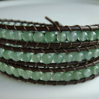 Aventurine Bead and Leather Bracelet