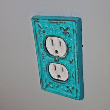 Turquoise Decorative Electrical Outlet Plate /Plug-in Cover/ Fleur de lis/ Bright Cast Iron/ Painted Metal/ Shabby Chic