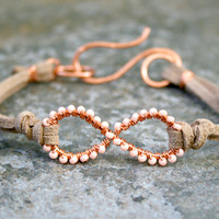 Peach Infinity Bracelet Wire Wrapped Copper and Suede
