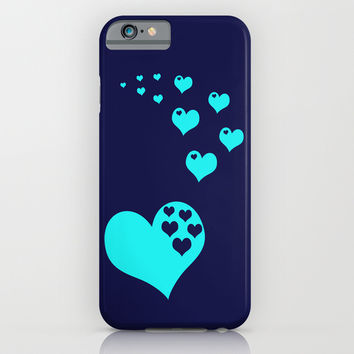 Hearts Navy Turquoise iPhone & iPod Case by Beautiful Homes