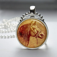 Round Glass Pendant Bezel Pendant Horse Pendant Horse Necklace Photo Pendant Art Pendant With Silver Ball Chain (A3895)