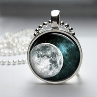 Round Glass Pendant Bezel Pendant Moon Pendant Moon Necklace Photo Pendant Art Pendant With Silver Ball Chain (A3646)