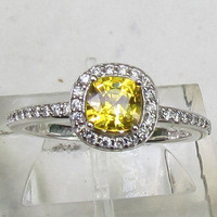 Square Cushion Yellow Sapphire 14k White Gold Diamond Halo Engagement Ring September Birthstone Gemstone Jewelry
