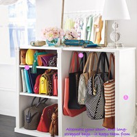 shelve your clutches, hang the rest